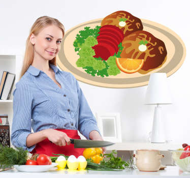 Wall Stickers - Decals - Illustration of a garnished plate of meat. Ideal for homes or businesses such as cafes and restaurants.
