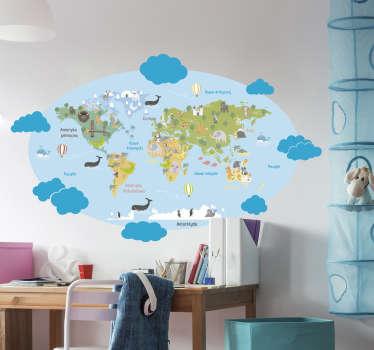 Naklejka z rysunkiem błękitna mapa świata