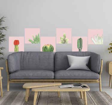 自然な雰囲気で空間を飾る美しいサボテンの植物壁アートデカール。必要なサイズのデザインがあります。