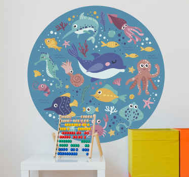 Decorative and educational marine animals wall sticker for children. The design comprise of various sea animals in amazing colour and sea background.