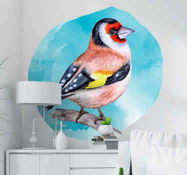 A realistic multicolored bird wall art sticker designed standing on a tree branch. An amazing decoration for any flat surface, it is easy to apply.