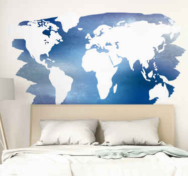 Decorative world map wall sticker to decorate your wall space with the touch of geography. This product is available in any measure of size required.