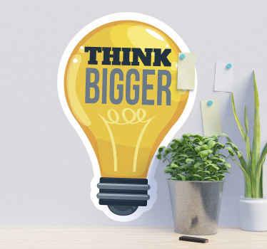 vinis decorativos com texto motivacional com o produtode uma lâmpada e texto '' pense grande '' para decorar seu espaço à luz da inspiração.