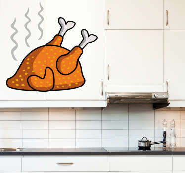Roast Chicken Wall Sticker- Illustration of a sizzling hot golden roasted chicken Part of our collection of kitchen wall stickers.