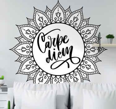 """Vinilo pared mandala creado en estilo artesanal con el texto """"Carpe Diem"""". Decora tu casa a tu estilo. Elige medidas y color ¡Compra online!"""