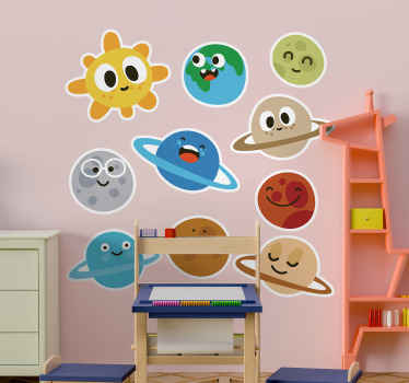 Illustrative space element wall art decal with funny emoji faces for children bedroom decoration. The product is made of good quality vinyl.