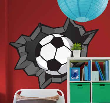 壊れた壁にボールをイメージしてデザインされた視覚効果サッカーステッカー。適用は簡単で、品質は最高です。