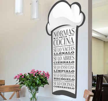 Vinilo pared cocina de las reglas de la cocina diseñado sobre un fondo blanco de marco con un gorro de chef ¡Envío a domicilio!