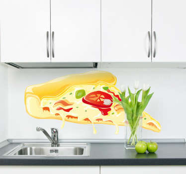 Wall Stickers - Decals - Illustration of a slice of pizza with double cheese, olives, bacon and tomato.