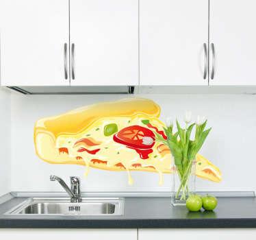 Pegatina porción pizza queso y tomate