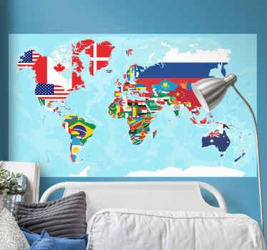 異なる旗の色表現で世界地図の場所世界地図ステッカーデザイン。デザインは簡単に適用でき、高品質のビニール製です。