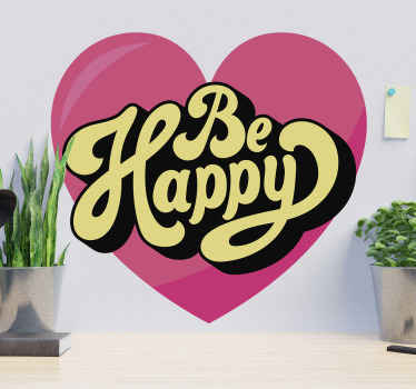 Beautiful motivation text decal to beautify your space with happiness. It is inscribed with the text ''Be happy'' on a pink color heart background.