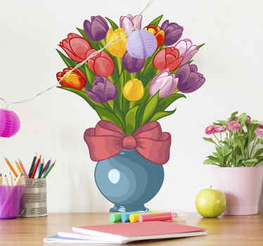 An ornamental flower sticker with the design of colorful flowers in a pot. It is decorative on any flat surface and very easy to apply.