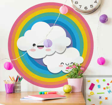 Children rainbow and clouds sticker for kids bedroom decoration. The design is available in any required size and it application is easy.