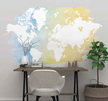 A decorative world map decal designed in watercolor pattern.  It is a silhouette design and it would look amazing on any space decorated on.