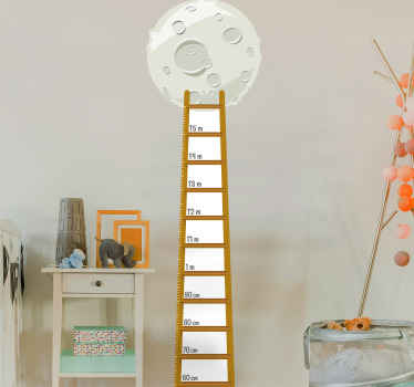 Children's moon stair gauge height chart decal to decorate the room of kid. The product is made with high quality and very easy to apply.