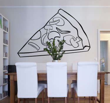 Wall Stickers - Decals - Illustration of a slice of pizza with mushrooms, onions, cheese and pepper.
