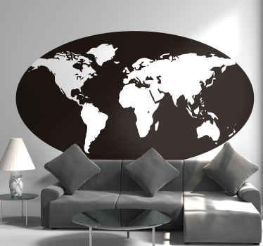 黑色椭圆形背景上创建的位置世界地图贴纸设计。该设计在任何选择的空间上都具有装饰性,并且易于应用。
