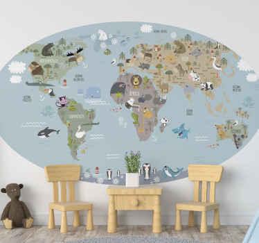 Vinilo mapamundi infantil para decorar el dormitorio de tus hijos con varios animales en estilo nórdico. Elige medidas ¡Envío express!