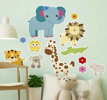 Pretty illustrative jungle animal wall sticker for children's room. This product is available in any required size and it application is easy.