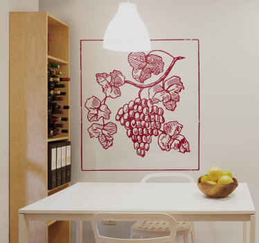 Wall Stickers - Illustration of a bunch of juicy fresh grapes. An ideal feature for the kitchen or dinning area. Available in various sizes.