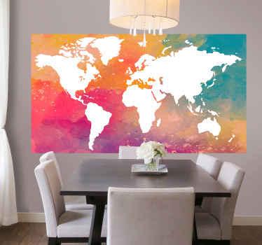 色とりどりの正方形の背景に設計された装飾的な世界地図ステッカー。上質なビニール製で簡単に貼れます。