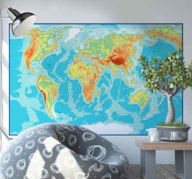 Vinilo mapamundi pared diseñado sobre un fondo cuadrado  representando la geografía del planeta. Elige las medidas ¡Envío express!