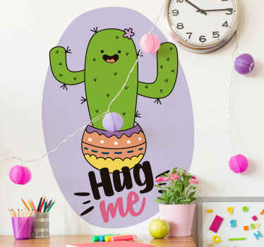 A decorative plant wall sticker design of a cactus plant designed in a funny iconic style and a text that says ''hug me''.