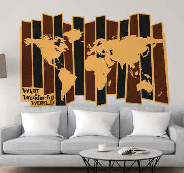 Give  your space that touch of style from the past in our retro style world map sticker. The design is available in any required size.
