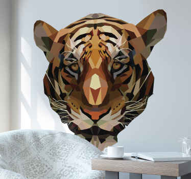Decorative wild animal wall sticker design of a tiger for your home decoration This design is created in an abstract polygonal style.