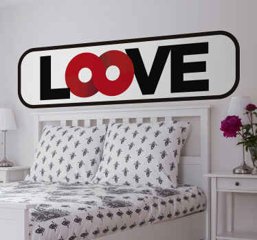 An original love text wall sticker for bedroom space created with lovely colours on framed background. It is easy to apply and available in any size.