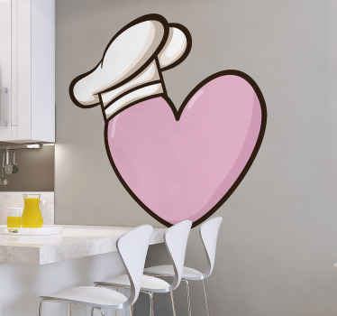 Dizajn naljepnica za zidne kuhinje u obliku srca i šešira za kuhanje po veličini. Simbolični dizajn kuhinje koji govori kako volite kuhati.