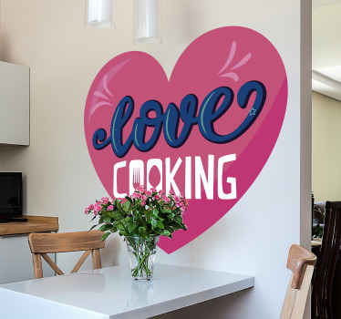 Kitchen text vinyl sticker design of a heart shape with inscribed text of '' love cooking''. It is easy to apply and made of high quality vinyl.