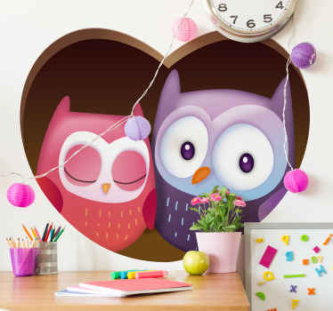 Decorative bedroom wall sticker for children. A design featured with two owls on a heart shape background. It is easy to apply and of good quality.
