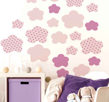 Decorative illustrative children wall sticker  design featured with different pink background patterns that illustrates cloud. It is easy to apply.