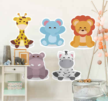 Self adhesive decorative Illustrative animal wall sticker design for children bedroom space. The design features different animals. Easy to apply.