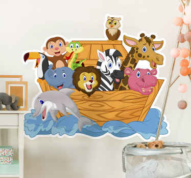 Decorative illustrative Noah's art wall sticker design for children bedroom decoration. The design is a boat on sea with different animals and person.