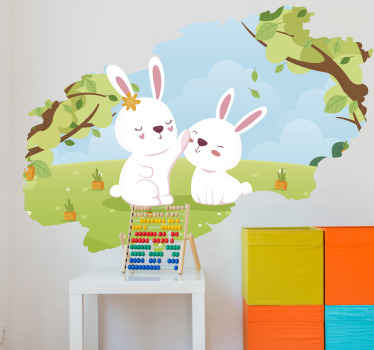 Decorative illustrative rabbit wall sticker for children bedroom space. It is easy to apply and of good quality. Available in any size required.