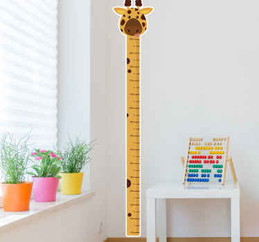 Great decorative idea for kids bedroom. A giraffe featured  meter height  with proper vertical calibration. Easy to apply and of good quality vinyl.
