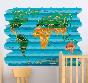 Vinilo pared mapamundi de dinosaurios para colocar en el cuarto de tu hijo si es amante de estos legendarios seres ¡Compra online ahora!