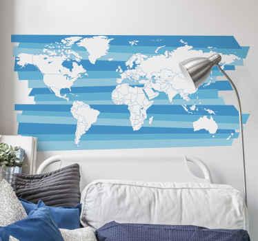 素敵な青いテクスチャ背景で作成された装飾的な世界地図ステッカーデザイン。適用が簡単で、リビングルームやオフィススペースに適しています。