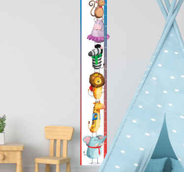 Animal height chart wall sticker featured with various funky animal design along the calibrated surface of the meter. It is easy to apply and adhesive
