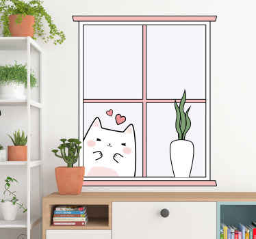 A decorative cat animal sticker for your home space featured with a flower pot on a window background. It is available in any size needed.