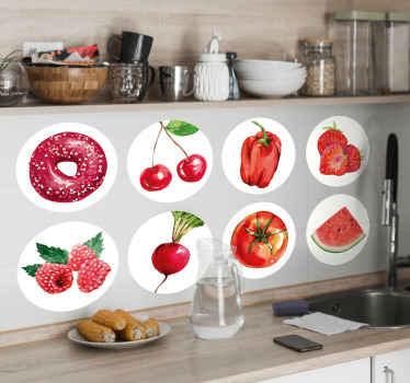 赤い色のさまざまな野菜や果物を特集したキッチンウォールステッカーのコレクションからの素晴らしいフードウォールアートステッカーの装飾です。