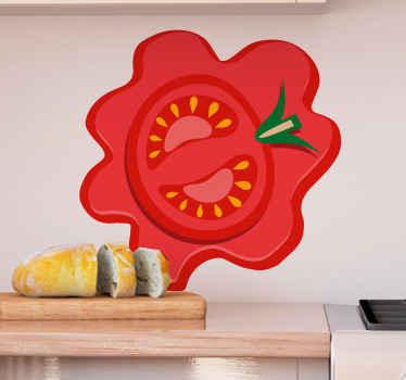 キッチンスペースのスライストマトの食品壁アートステッカーデザイン。適用は本当に簡単で、高品質のビニールで作られています。