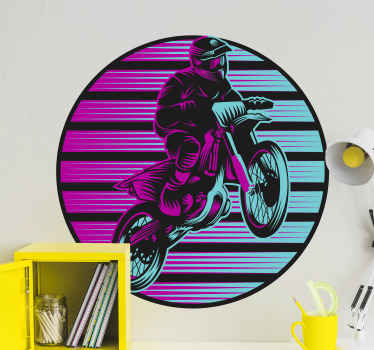 Decorative motorbike sticker design featured with a rider. The product is really easy to apply and it is of high quality. Its available in any size.
