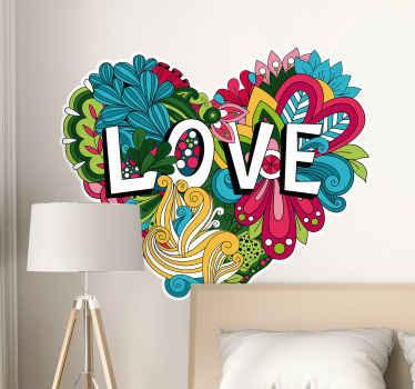 「愛」のテキストがハートの形にデザインされた装飾的で魅力的な装飾用フラワーステッカー。適用が簡単で、さまざまなサイズで利用できます。