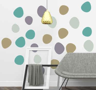 Samolepka na zeď s ozdobnými geometrickými kruhy v různých barvách pro dekoraci dětské ložnice. Je snadno použitelná a vyrobena z vysoce kvalitního vinylu.