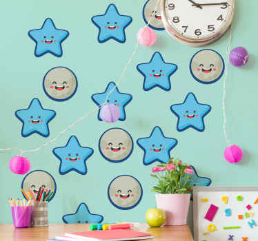 Decorative stars wall decal for children bedroomspace. A design featured with happy iconic smiley faces to create an interesting space for children.