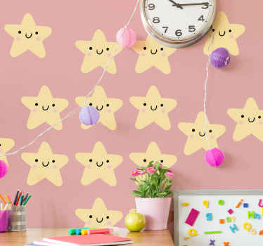 Happy and fun decorative wall art decal of stars with smiley faces for children bedroom. It is easy to apply and available in any size required.